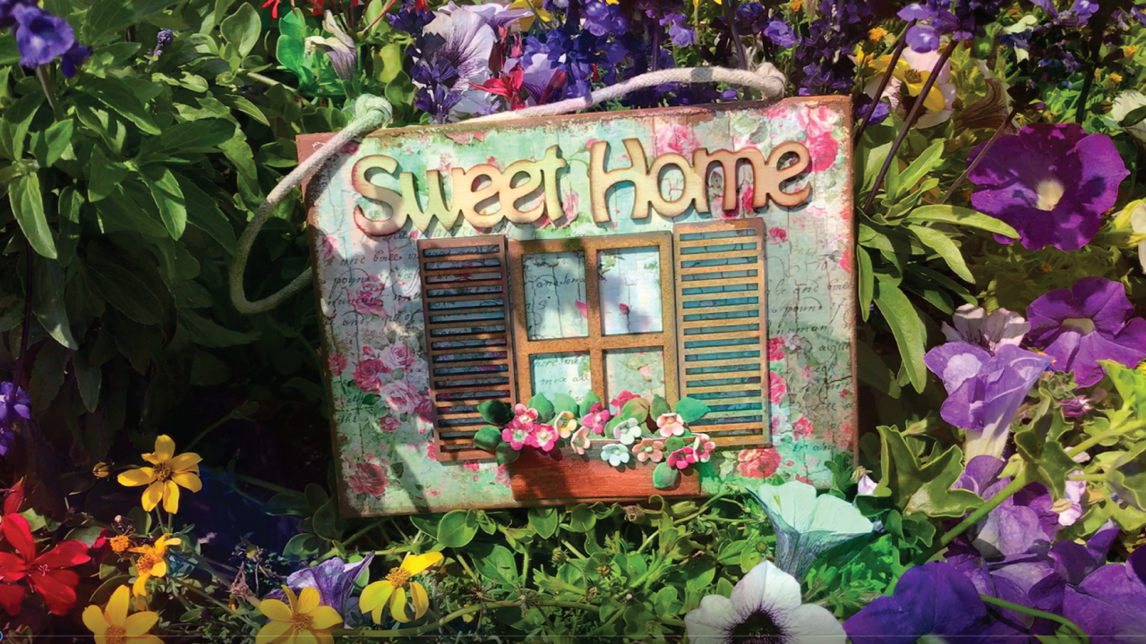 Blumenfenster Sweet Home Schild |Window flowers Sweet Home Sign
